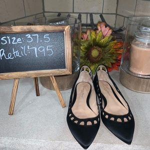 Gianvito Rossi Amal Satin Ballet Flat Shoes 37.5